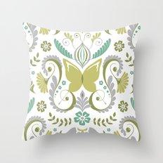 Butterfly Damask - Spring Mod Throw Pillow