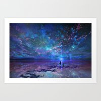 discount Art Prints featuring Ocean, Stars, Sky, and You by Melissa Hui Wang (muddymelly)