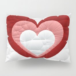 Quilted Red White Pink Simple Heart Design Pillow Sham