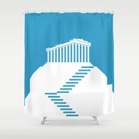 greece Shower Curtains featuring GREECE by Marcus Wild