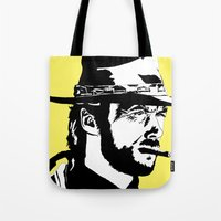 clint barton Tote Bags featuring Clint by Gary Barling