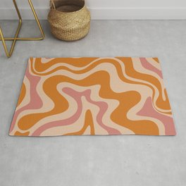 Liquid Swirl Abstract in Late Summer Orange and Pink Rug