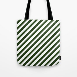 Large Dark Forest Green and White Candy Cane Stripes Tote Bag