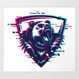 Modern creative furious bear, grizzly, mascot illustration, print design with glitch effect Art Print