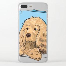 Cute Tan Cocker Spaniel Illustration Clear iPhone Case