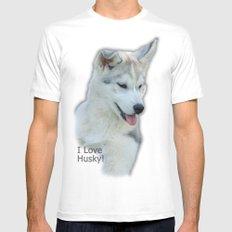 Husky puppy Mens Fitted Tee White MEDIUM