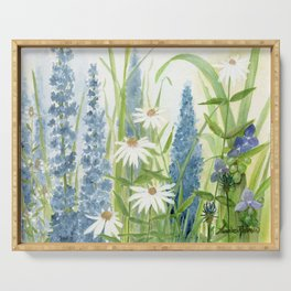 Watercolor Botanical Garden Flower Wildflower Blue Flower Garden Serving Tray