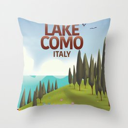 Lake Como Italy travel poster Throw Pillow
