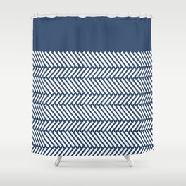 Herringbone Boarder Navy Shower Curtain