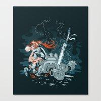 cyberpunk Canvas Prints featuring Cyberpunk Beat Down by Dooomcat