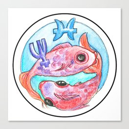 Whimsical Astrology Sun Sign Pisces the Fish Canvas Print