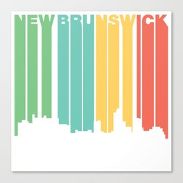 Retro 1970's Style New Brunswick New Jersey Skyline Canvas Print