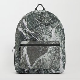 Black marble dark gray marble print with white vains real marble texture pattern natural rock Backpack