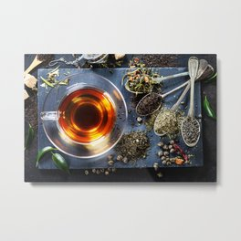 Tea composition with old spoon on dark background Metal Print