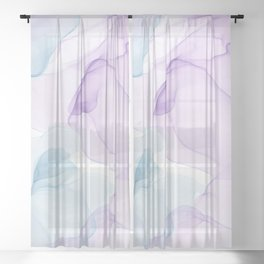 Purple Blush and Blue Flowing Abstract Painting Sheer Curtain
