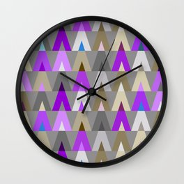 Geometric Triangles | purple grey Wall Clock