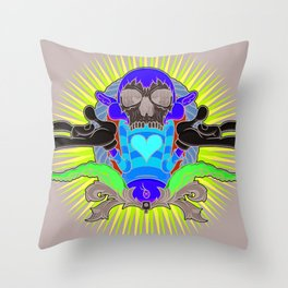 No More Happy Face Throw Pillow