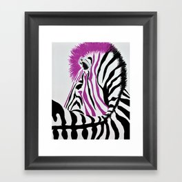 Pink Punk Rock Zebra Framed Art Print