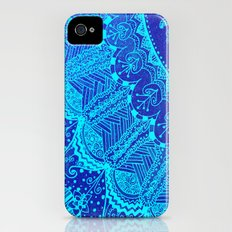 Blue SPARKLE Doodle iPhone (4, 4s) Slim Case