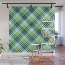 Green and Navy Blue Plaid Pattern Wall Mural