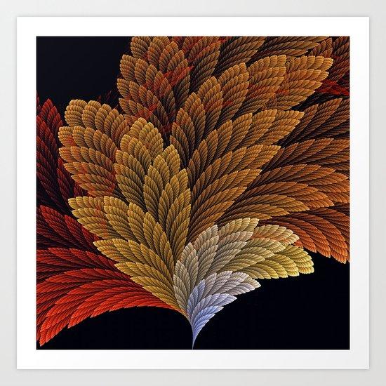 Decorative featherly pattern fan Art Print