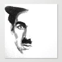 chaplin Canvas Prints featuring Chaplin by josie leigh