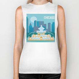 Chicago, Illinois - Skyline Illustration by Loose Petals Biker Tank