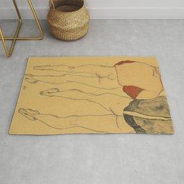 "Egon Schiele ""Two standing semi-nude females"" Rug"