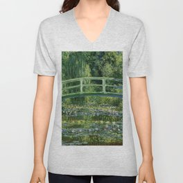 Water Lilies And The Japanese Bridge Claude Monet Unisex V-Neck