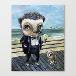 Ice Cream on the Beach with Hedgy Canvas Print