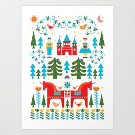 Scadinavian Fairytale Bright Art Print