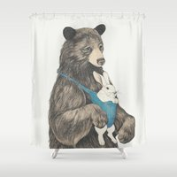 bear Shower Curtains featuring the bear au pair by Laura Graves