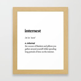 Internest black and white contemporary minimalism typography design home wall decor bedroom Framed Art Print