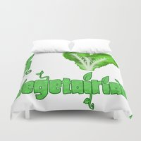 vegetarian Duvet Covers featuring i love vegetarian by Adiel Azrai