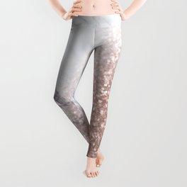 Blush Pink Sparkles on White and Gray Marble V Leggings