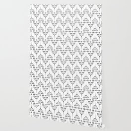 Abstract geometric pattern with floral elements Wallpaper
