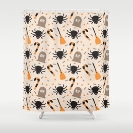 Happy halloween brooms, graves, spiders and sweets pattern Shower Curtain