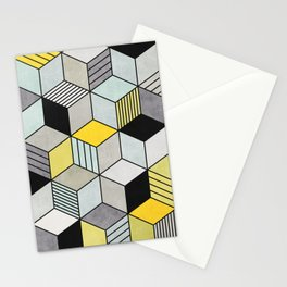 Colorful Concrete Cubes 2 - Yellow, Blue, Grey Stationery Cards