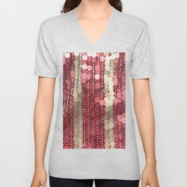 Red and Gold Festive Dazzle Sequins Unisex V-Neck
