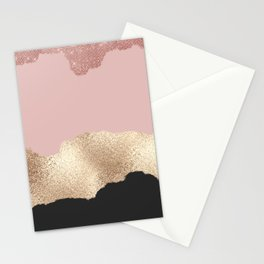 Rose Gold Glitter Black Pink Abstract Girly Art Stationery Cards