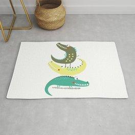 Crocodile Tower Cute Adorable Fun Print Rug