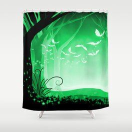 Dark Forest at Dawn in Emerald Shower Curtain
