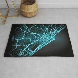 Rimini, Italy,  Blue, White, Neon, Glow, City, Map Rug