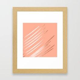 Sweet Life Swipes Peach Coral Shimmer Framed Art Print