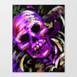 Day of the Dead Neon Party Skull Canvas Print