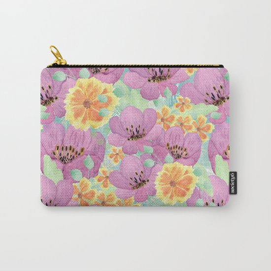 floral pattern. 3 Carry-All Pouch