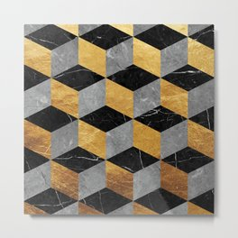 Geometrical marble and gold Metal Print