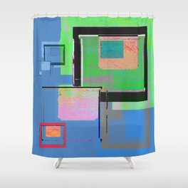 Superfly Muse No 2. Contemporary Mixed Media Abstraction Shower Curtain