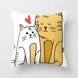 Cartoon Cat Family Throw Pillow