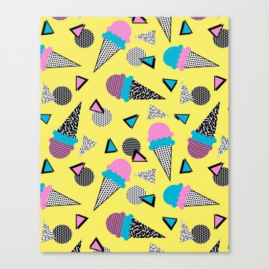 Cruncher - memphis throwback ice cream cone desert 1980s 80s style retro geometric neon pop art  Canvas Print